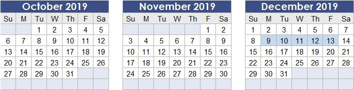 Test Region calendar dates: December 9th to December 13th